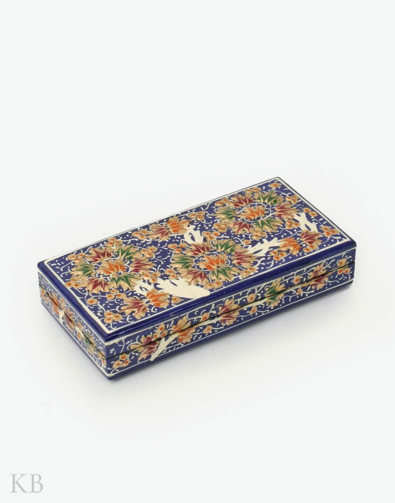 Blue Three Flowers Handmade Paper Mache Gift Box - Kashmir Box