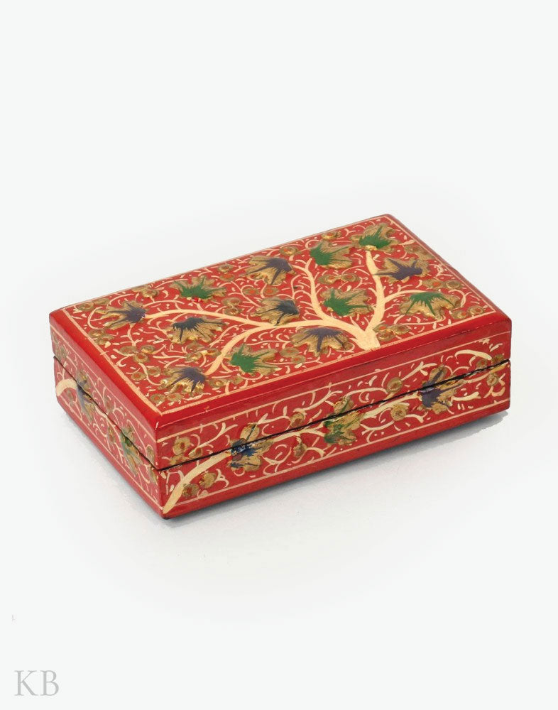 Red Chinar Tree Handmade Paper Mache Gift Box