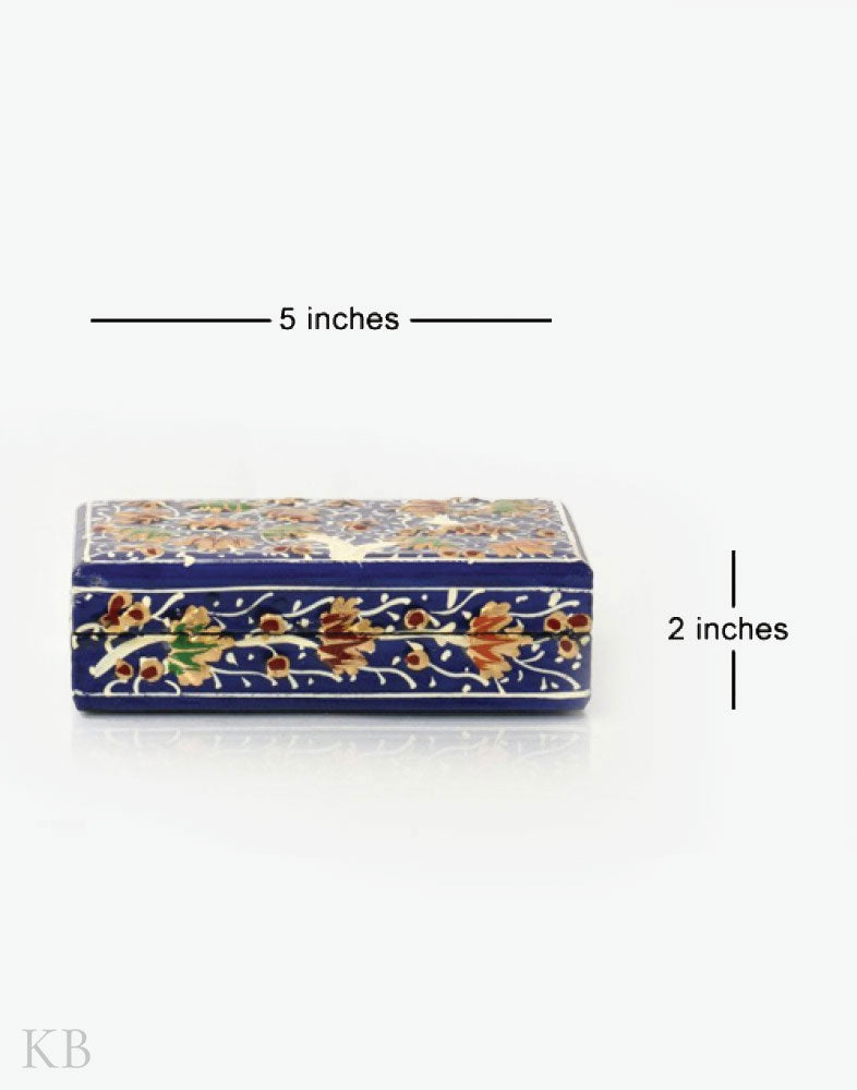 Blue Flower Tree Handmade Paper Mache Box - Kashmir Box