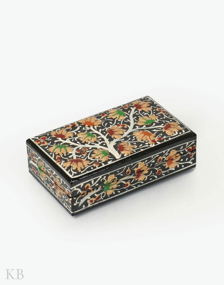 Black Golden Sprout Handmade Paper Mache Flat Box - Kashmir Box