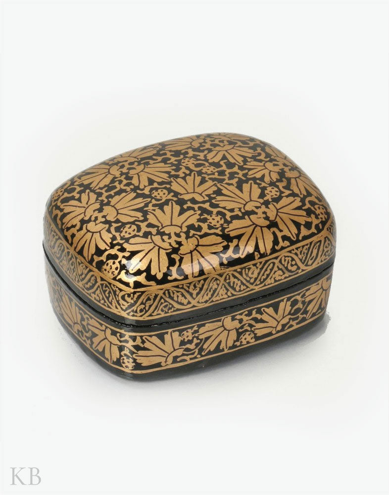 Black And Gold Handcrafted Paper Mache Trinket Box
