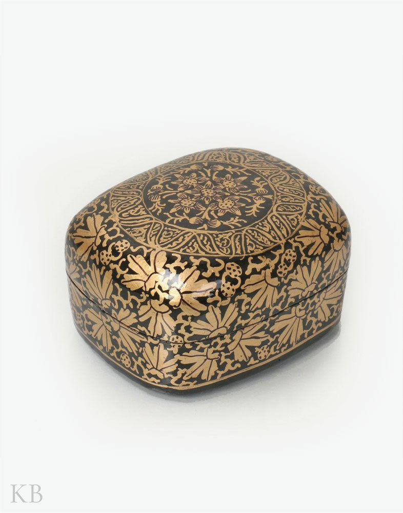Gold And Black Handcrafted Paper Mache Trinket Box