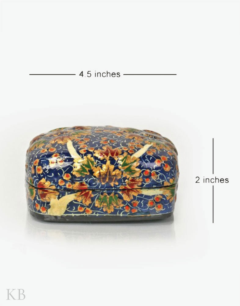 Navy Blue Twin Flower Paper Mache Trinket Box