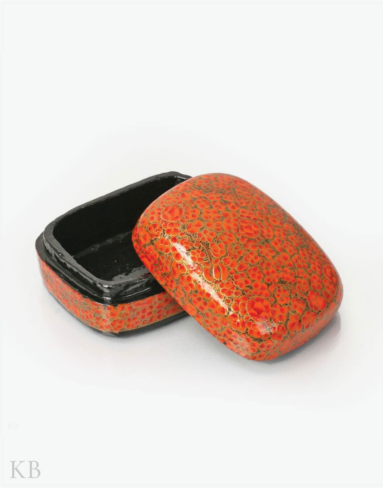 Orange Floret Handmade Paper Mache Trinket Box - Kashmir Box