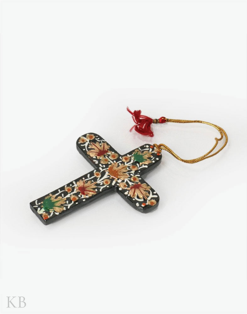 Black Flowered Paper Mache Latin Cross (Set of 4)