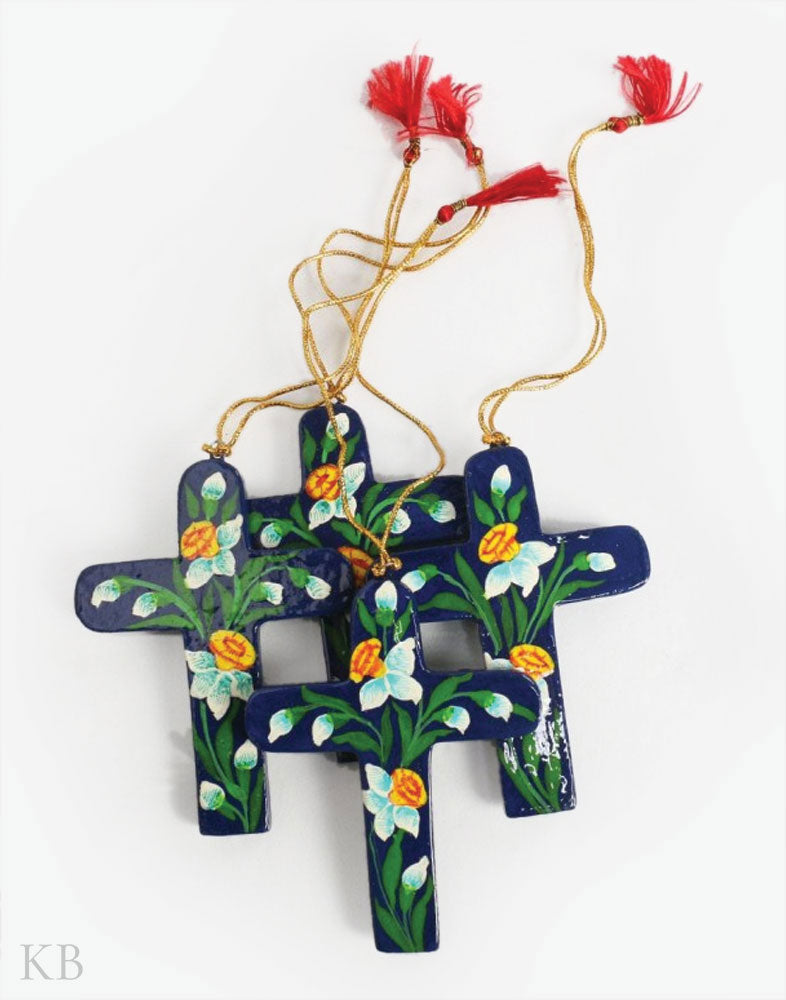 Blue Flower Sprout Paper Mache Latin Cross (Set of 4)