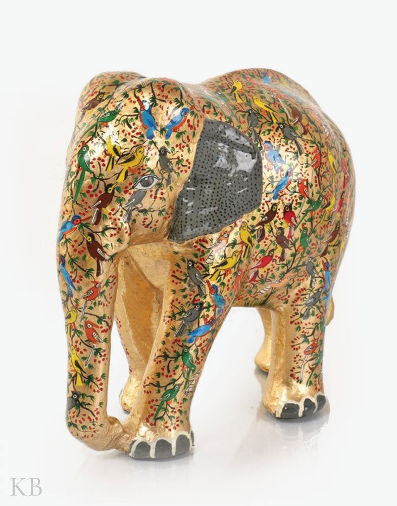 Golden Tree Of Life Paper Mache Elephant - Kashmir Box