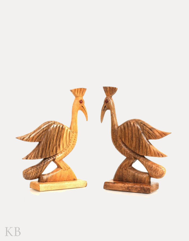 Walnut Wood Peacock (Set of 2)
