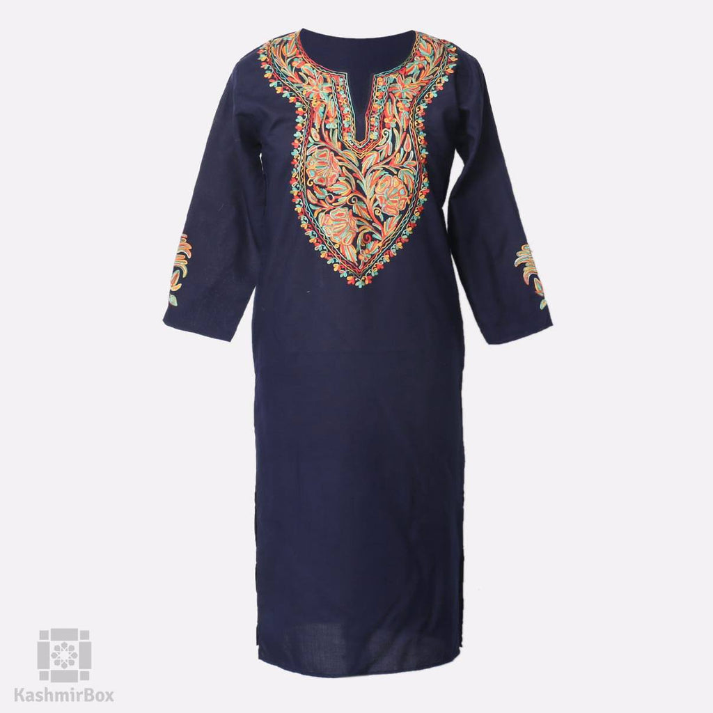 Abstract Floral Aari Embroidered Cotton Kurti - Kashmir Box