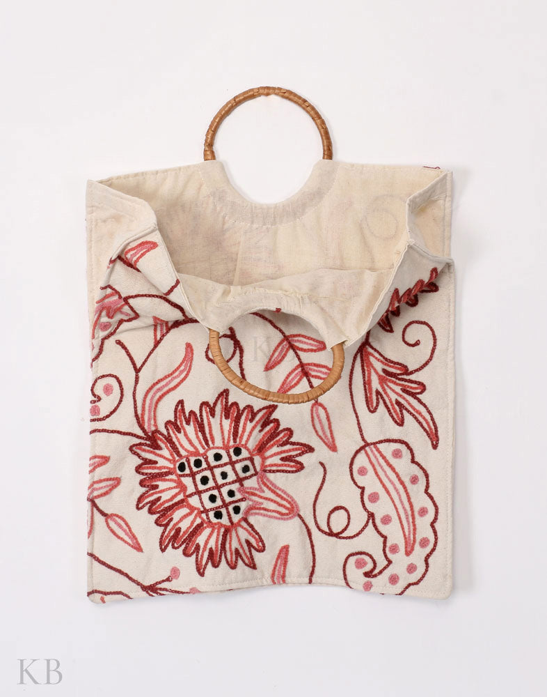 White Crewel Embroidered Dusoot Cotton Handbag