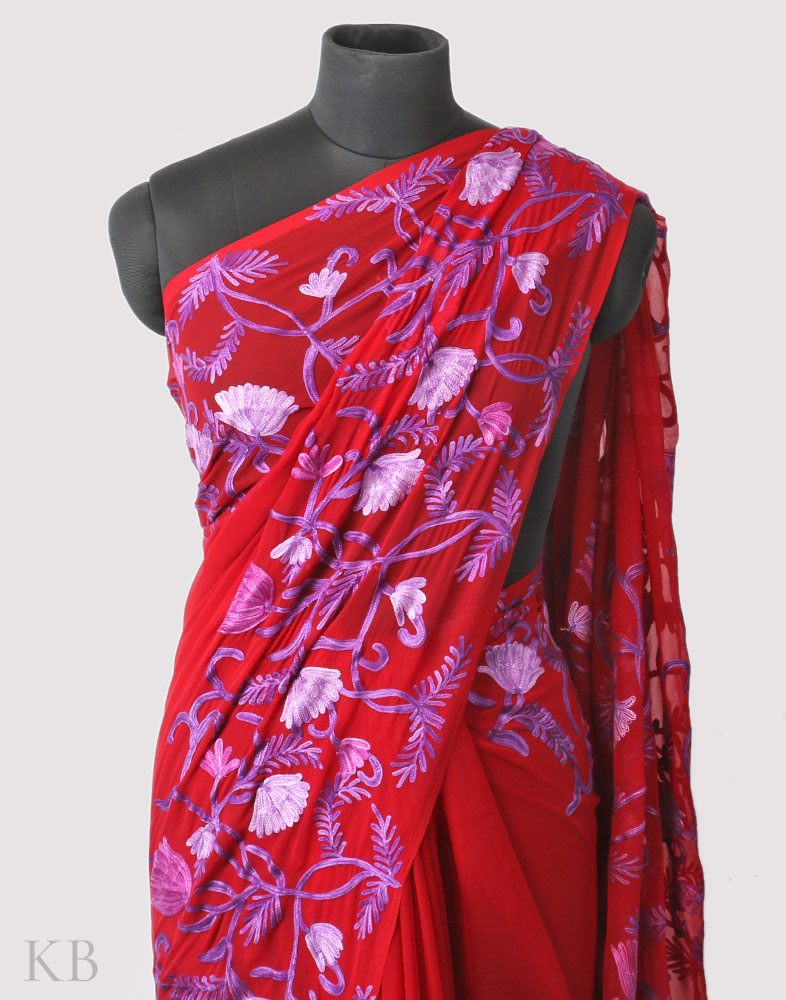 Ruby Red Aari Kari Georgette Saree