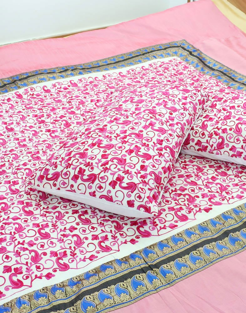 Rosey Pink Aari Embroidered Bed Spread