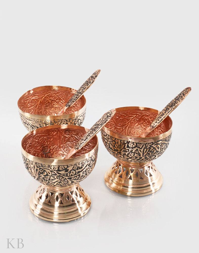 Chinar Charm Copper Ice Cream Bowls (Set of 3)
