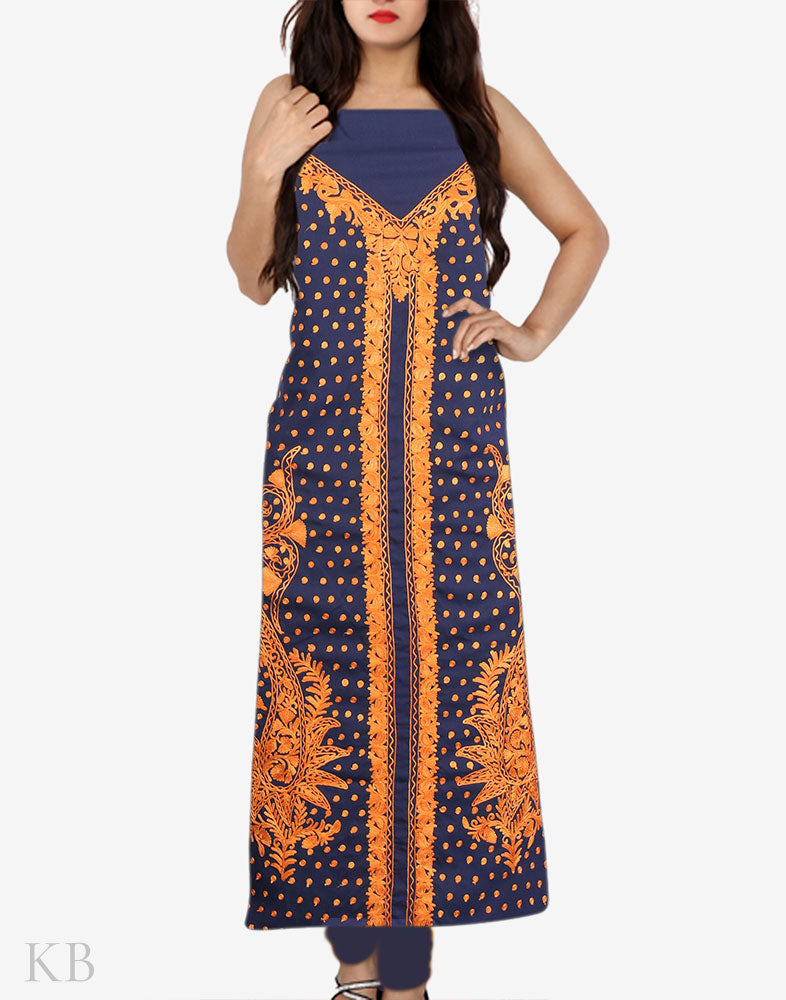 Blue Twin Paisley Aari Embroidered Cotton Suit - Kashmir Box
