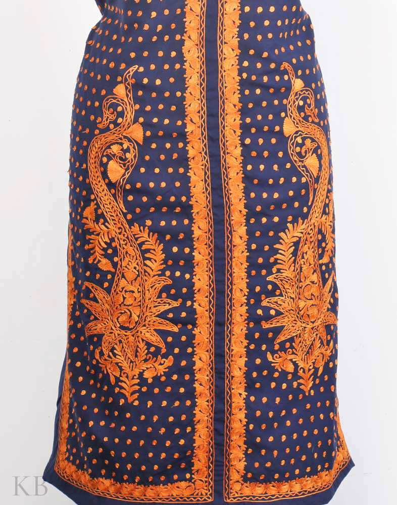 Blue Twin Paisley Aari Embroidered Cotton Suit