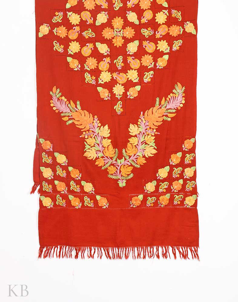 Brick Red Aari Embroidered Black Stole - Kashmir Box