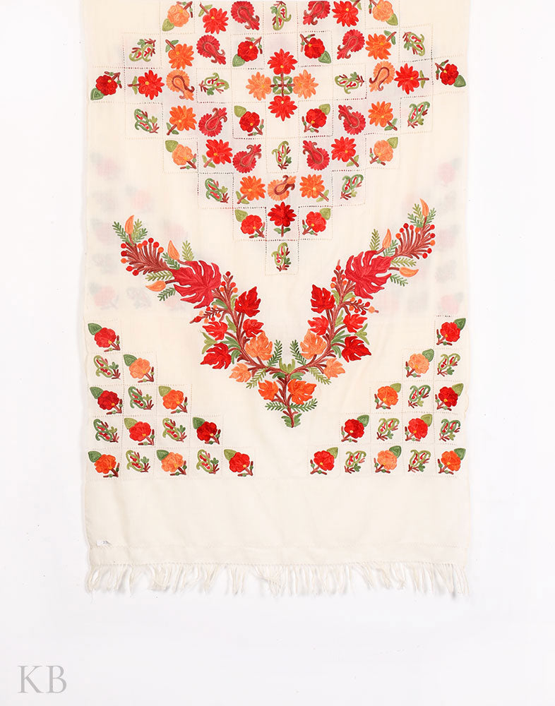 Chinar White Aari Embroidered Woolen Stole - Kashmir Box