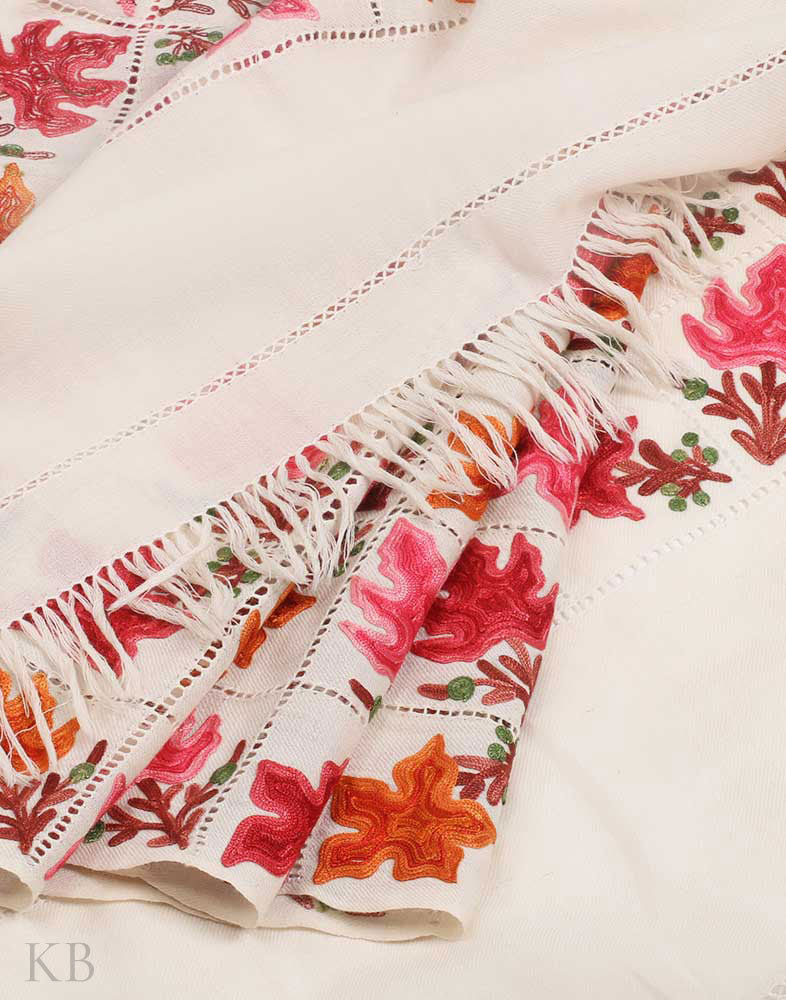 Daisy White Chinar Aari Embroidered Woolen Stole - Kashmir Box