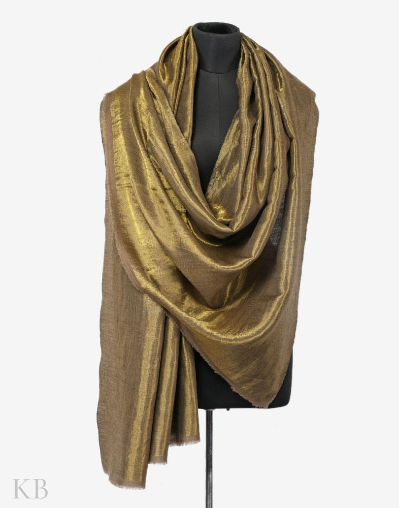 Black And Gold Do Rukha Cashmere Pashmina Shawl