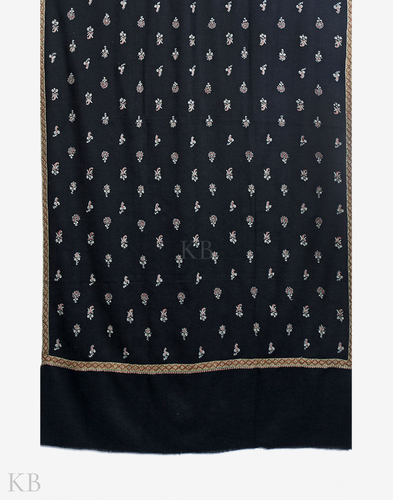 Black Hand Embroidered Bootidaar Cashmere Pashmina Shawl