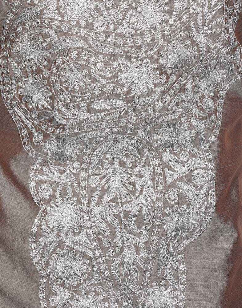 Ash Grey Tilla Embroidered Silk Suit