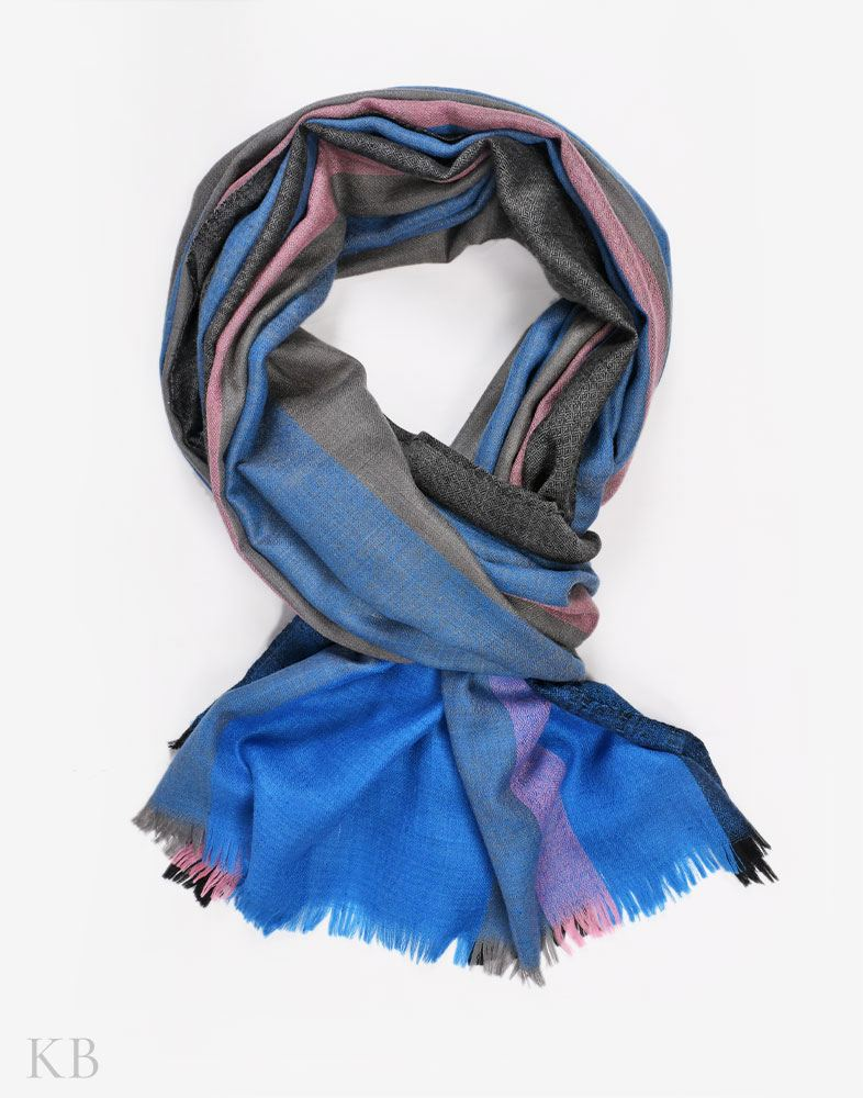 Blue Berries Striped Cashmere Pashmina Stole
