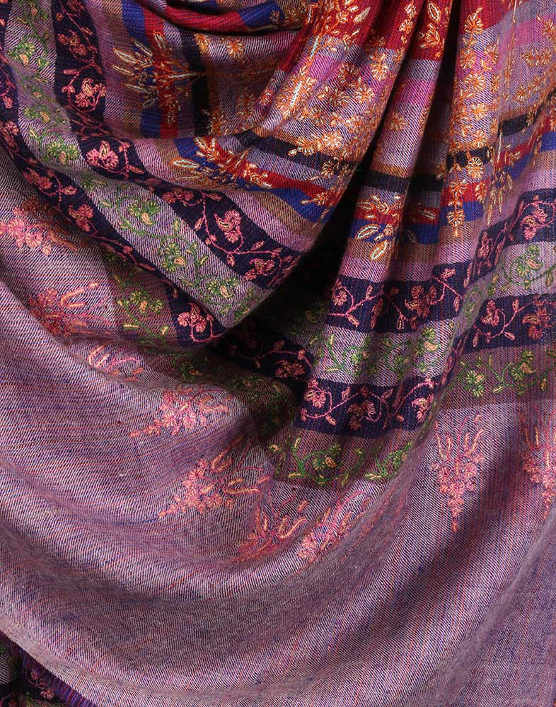 Heather Hand Embroidered Cashmere Pashmina Shawl
