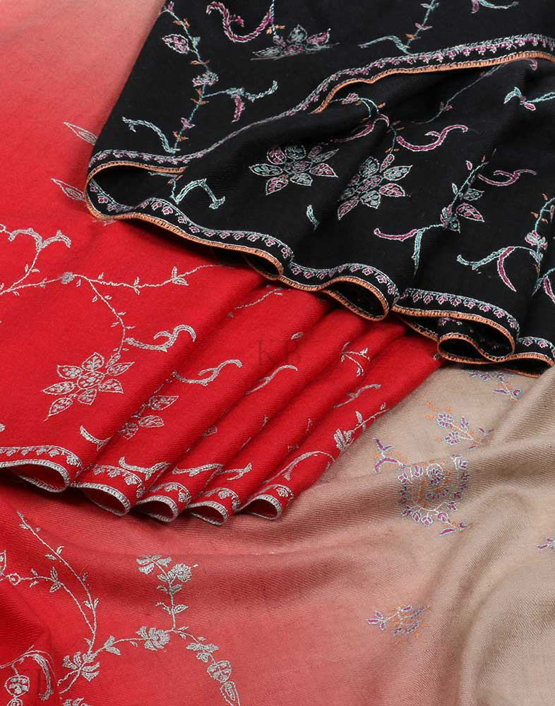Tri Toned Hand Embroidered Cashmere Pashmina Shawl