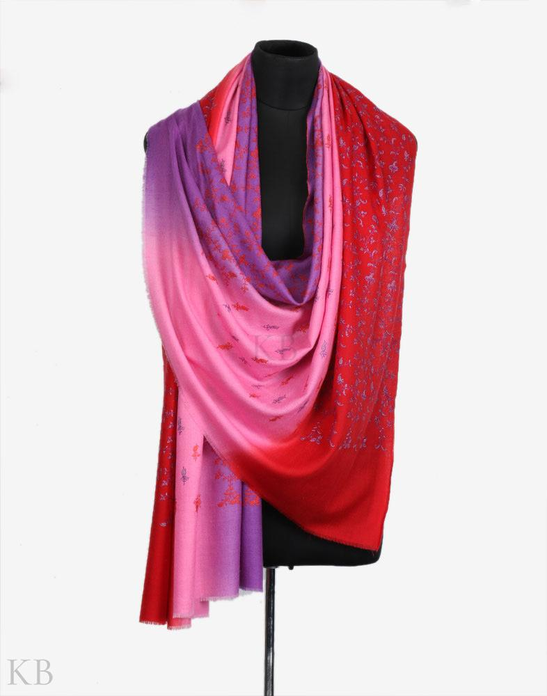 Three Tones Hand Embroidered Cashmere Pashmina Shawl - Kashmir Box