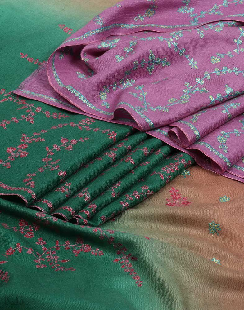 Three Strip Hand Embroidered Cashmere Pashmina Shawl