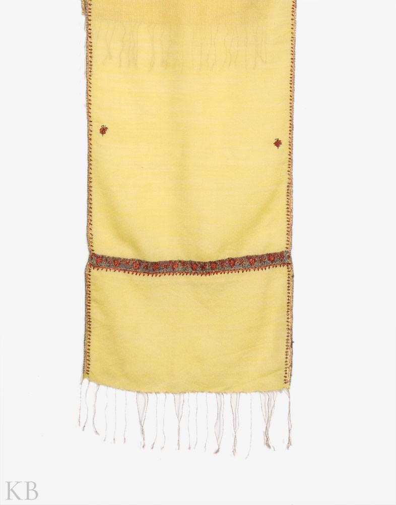 Yellow Hand Embroidered Unisex Woolen Scarf