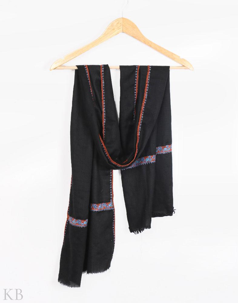 Black Hand Embroidered Unisex Woolen Scarf