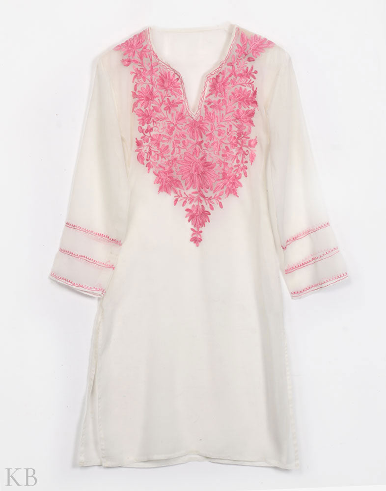 Powdered White Aari Embroidered Georgette Kurti - Kashmir Box