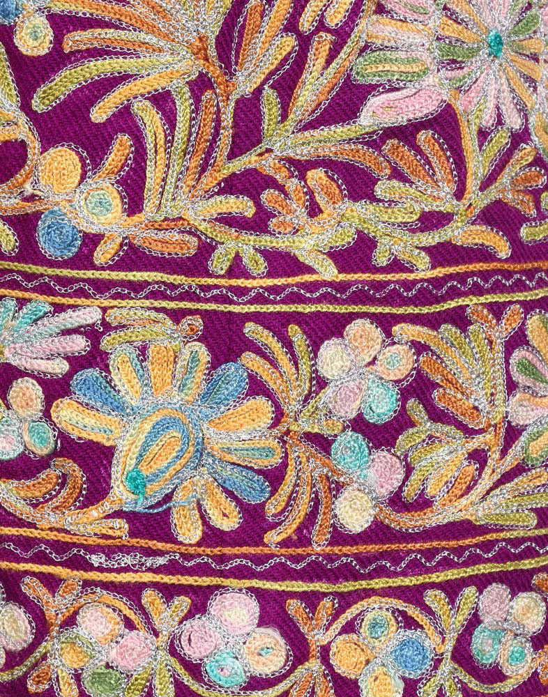 Mulberry Aari Embroidered Woolen Phiran - Kashmir Box