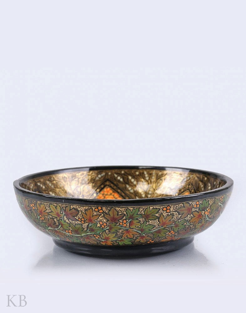 Black Gold Painted Chinar Paper Mache Bowl - Kashmir Box