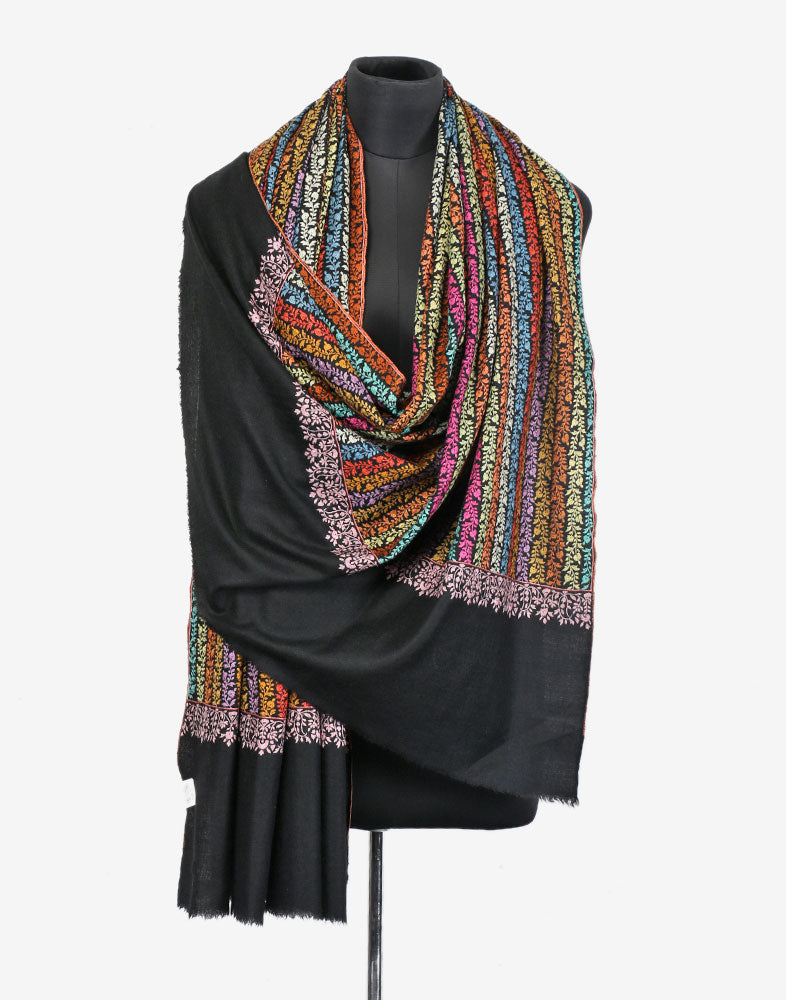 Blooming Flowers Sozni Embroidered Cashmere Pashmina Shawl
