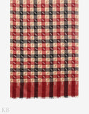 Multicoloured Check Hand Embroidered Cashmere Pashmina Shawl