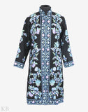 Black Floral Rush Aari Embroidered Woolen Jacket