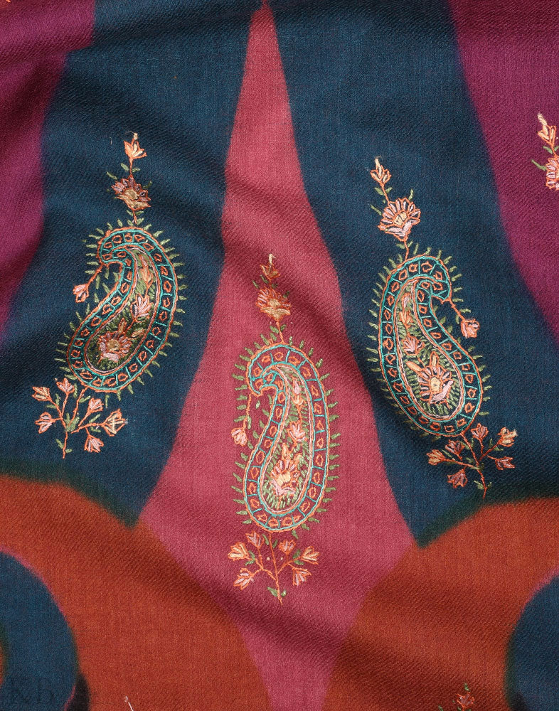 Color Speckled Hand Embroidered Woolen Shawls