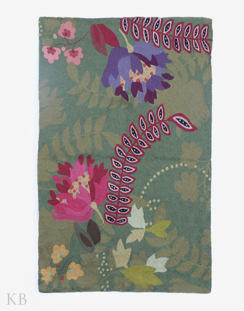 Green Flower Garden Chainstitch Rug - Kashmir Box