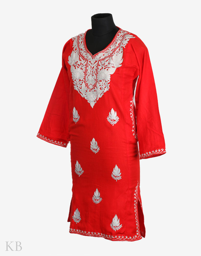 Red Aari Embroidered Zari Outlined Cashmilon Kurti - Kashmir Box