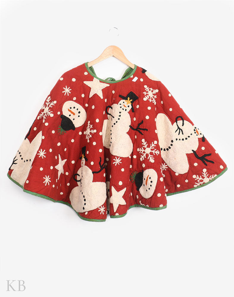 Christmas Themed Crewel Kari Cotton Poncho