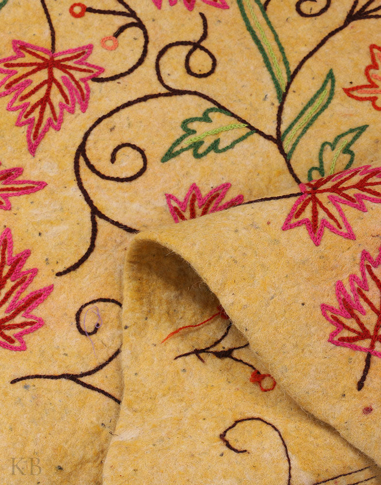 Yellow Chinars Crewel Embroidered Woolen Namda
