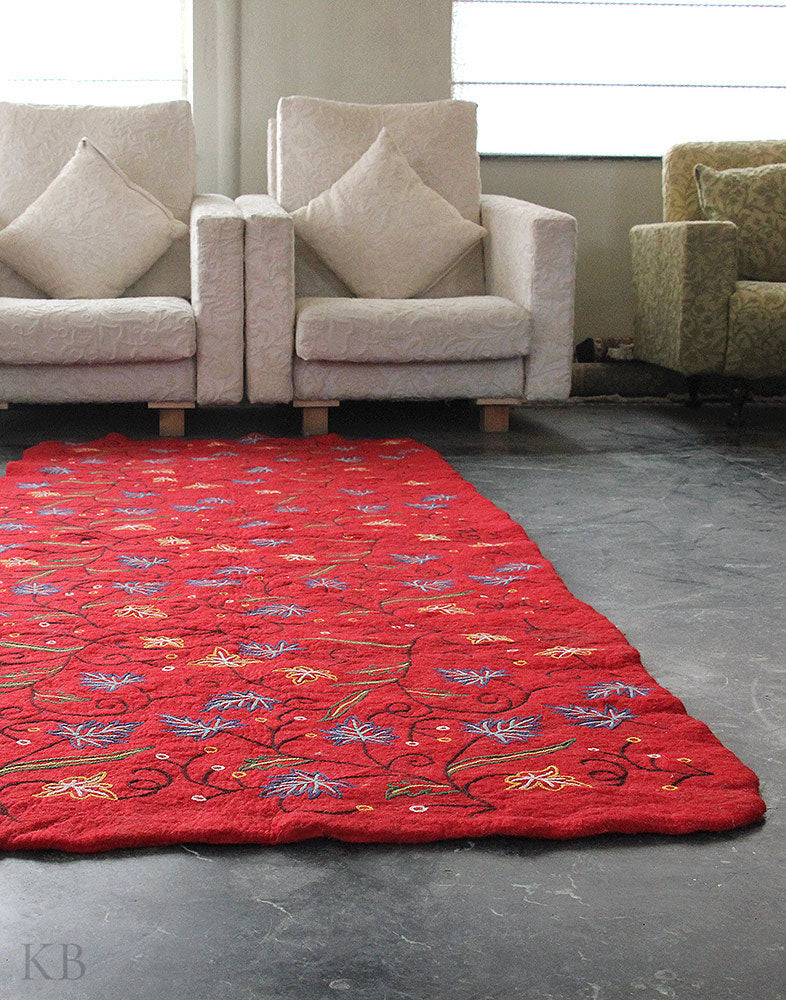 Red Chinars Crewel Embroidered Woolen Namda