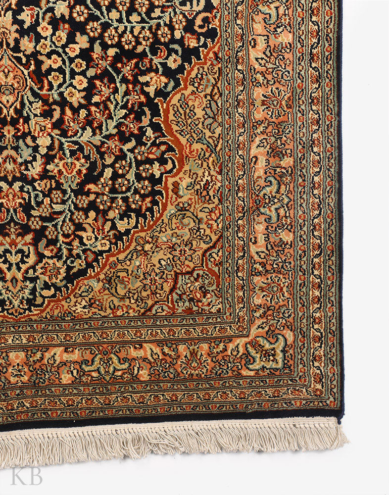 Blue Gulabdaar Kashmiri Silk Carpet