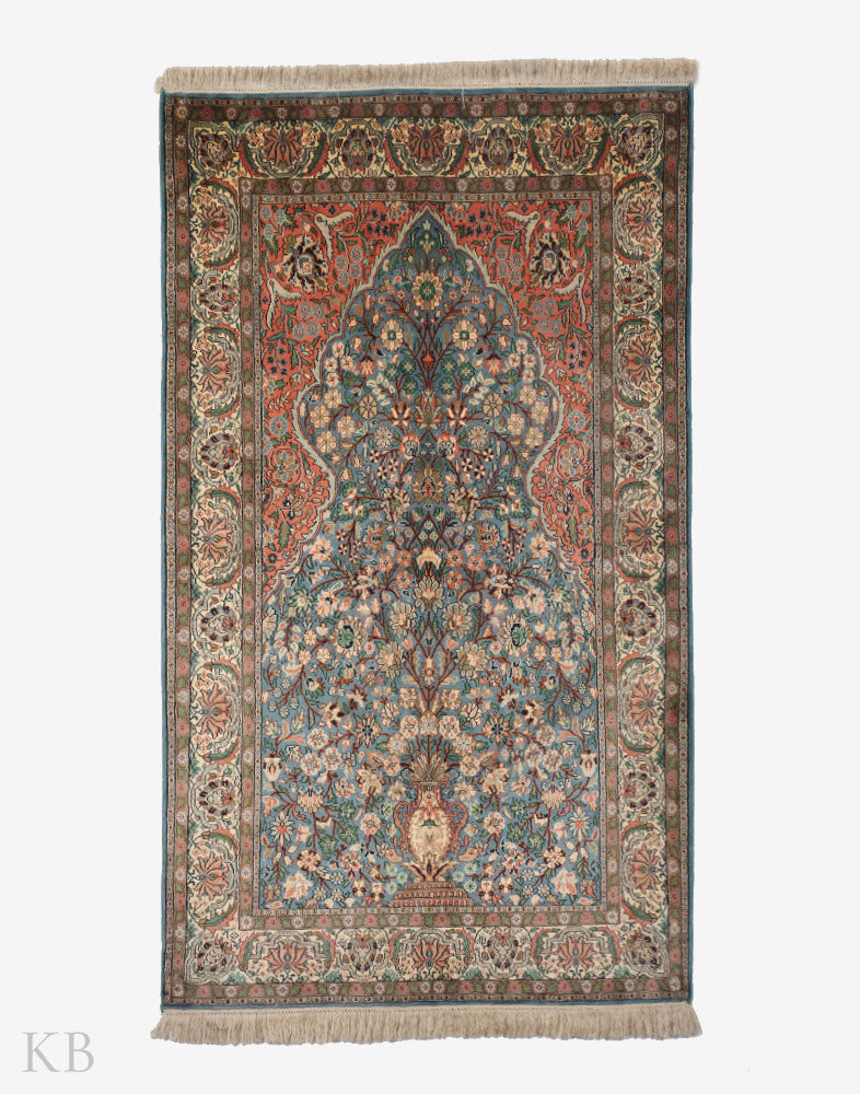 Sky Blue Tree Of Life Silk Carpet