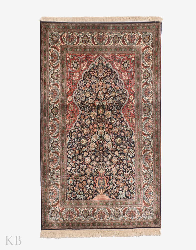 Warm Blue Tree Of Life Silk Carpet - Kashmir Box