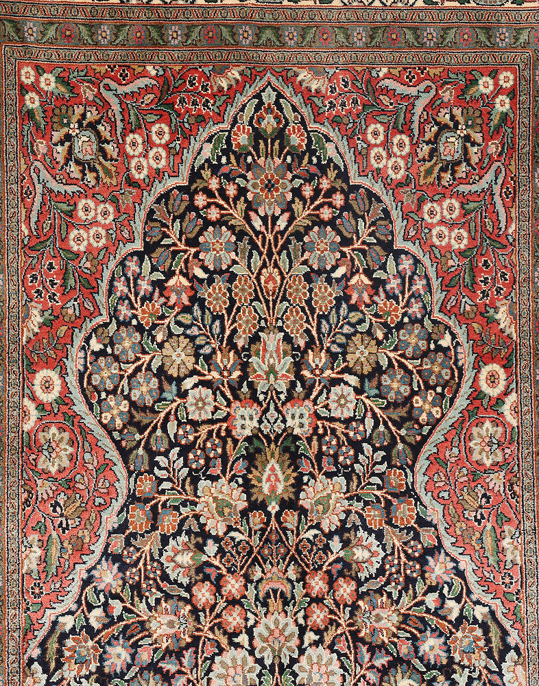 Warm Blue Tree Of Life Silk Carpet
