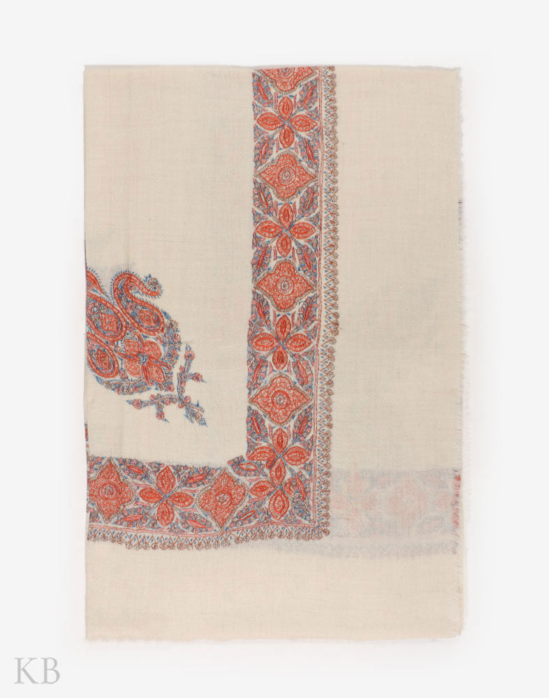 White Hand Embroidered Pashmina Mussar - Kashmir Box