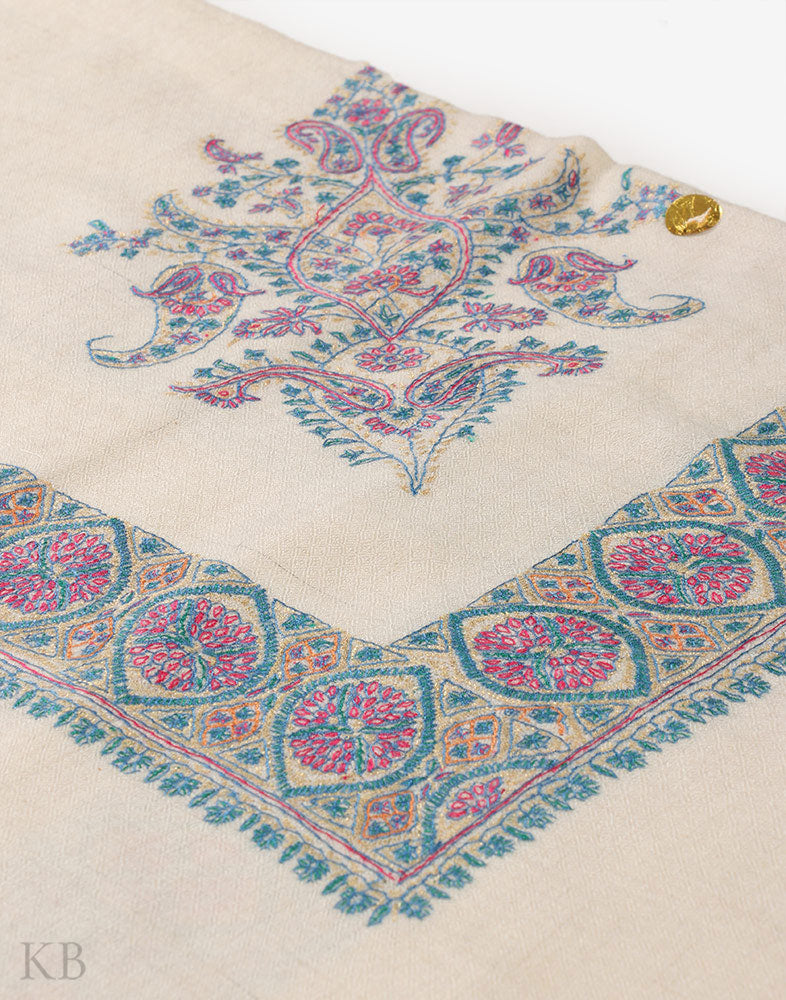 Sea Blue Hand Embroidered Pashmina Mussar - Kashmir Box